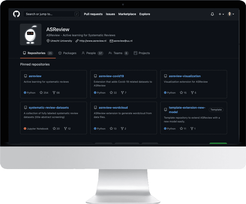 Community and code of ASReview can be found on GitHub
